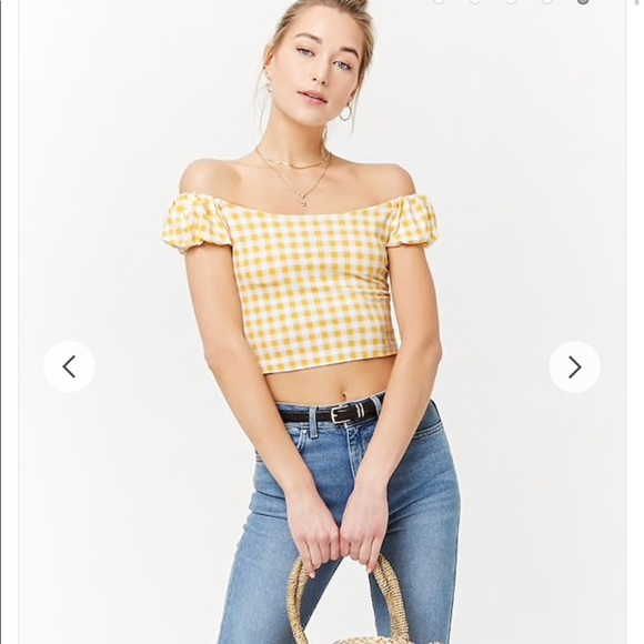 31f1947f0cb7b2 Forever 21 Tops - Gingham off the shoulder crop top